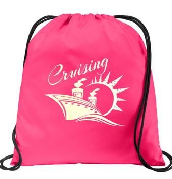 Cruise & Beach theme drawstring back pack - design 003