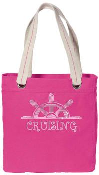 Cruise theme tote bag with rhinestone design