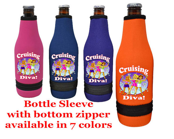 Cruise themed bottle sleeve.  Colorful art work on front with optional back design with name. Design 007
