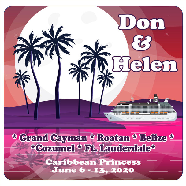"""Cruise Ship Door Magnet - 11"""" x 11"""" -  Customized  with your text - D003"""