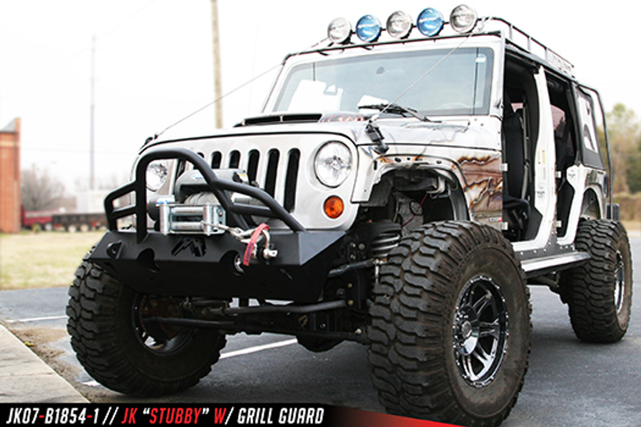 Fab Fours Hardcore Stubby Winch Front Bumper With Guard For 07-18 Jeep Wrangler JK - JK07-B1854-1