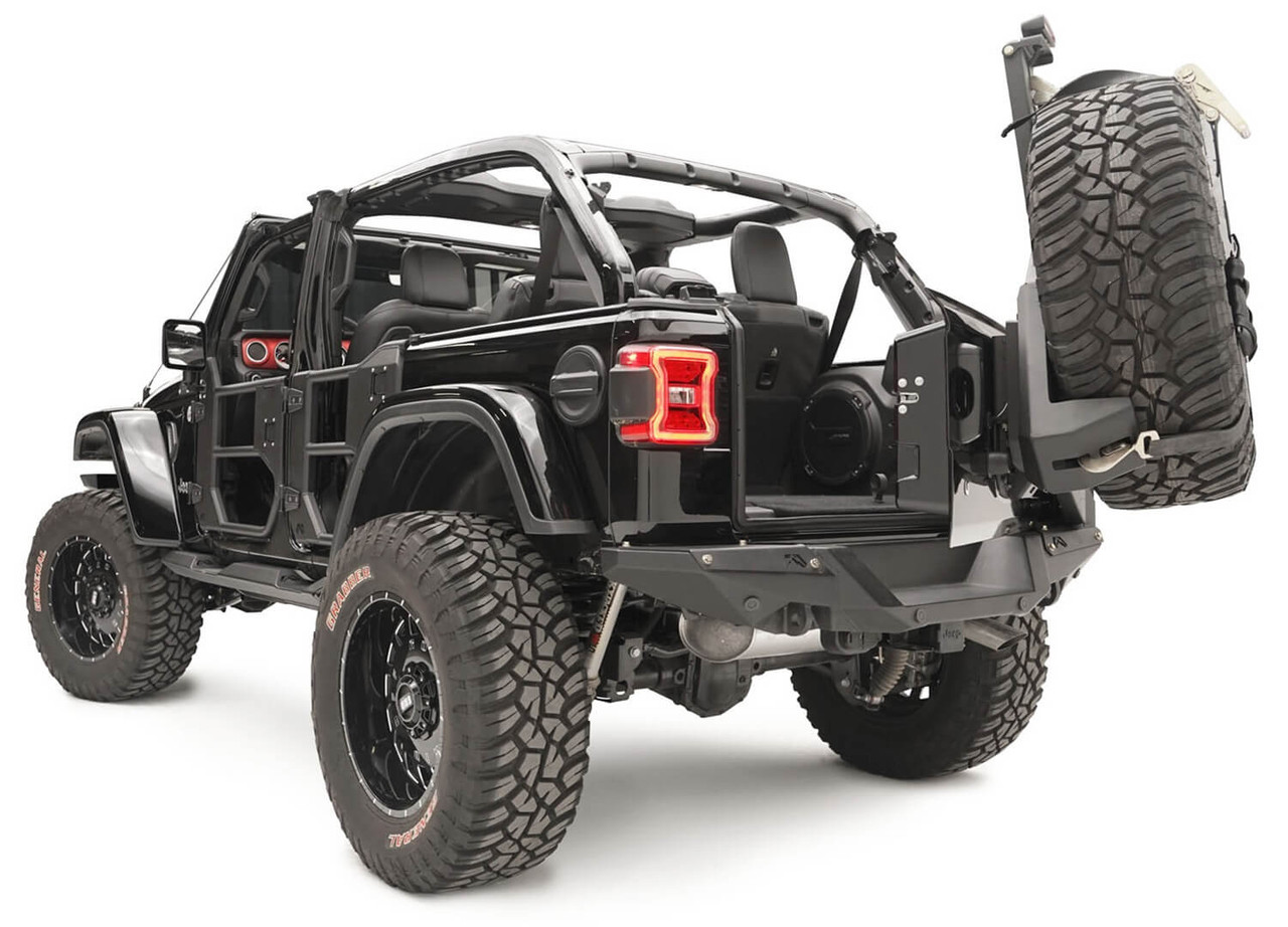 Fab Fours Slant Back Tire Carrier For 18-19 Jeep Wrangler JL - JL2070-1