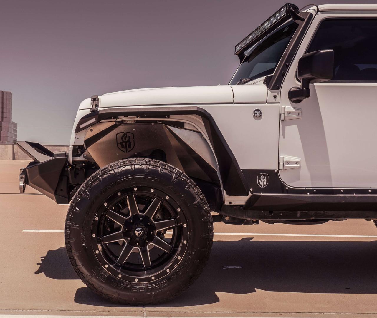 Road Armor Stealth Front Fender Flare W/ Switchback LED DRL For 07-18 Jeep Wrangler JK - 507AFF0B