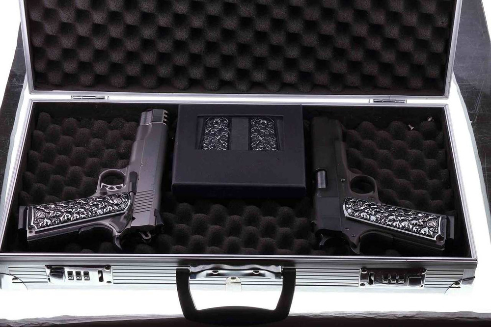 1911 Colt Rock Island 3D Skulls Pewter Finish Solid Aluminum Grips Full Size
