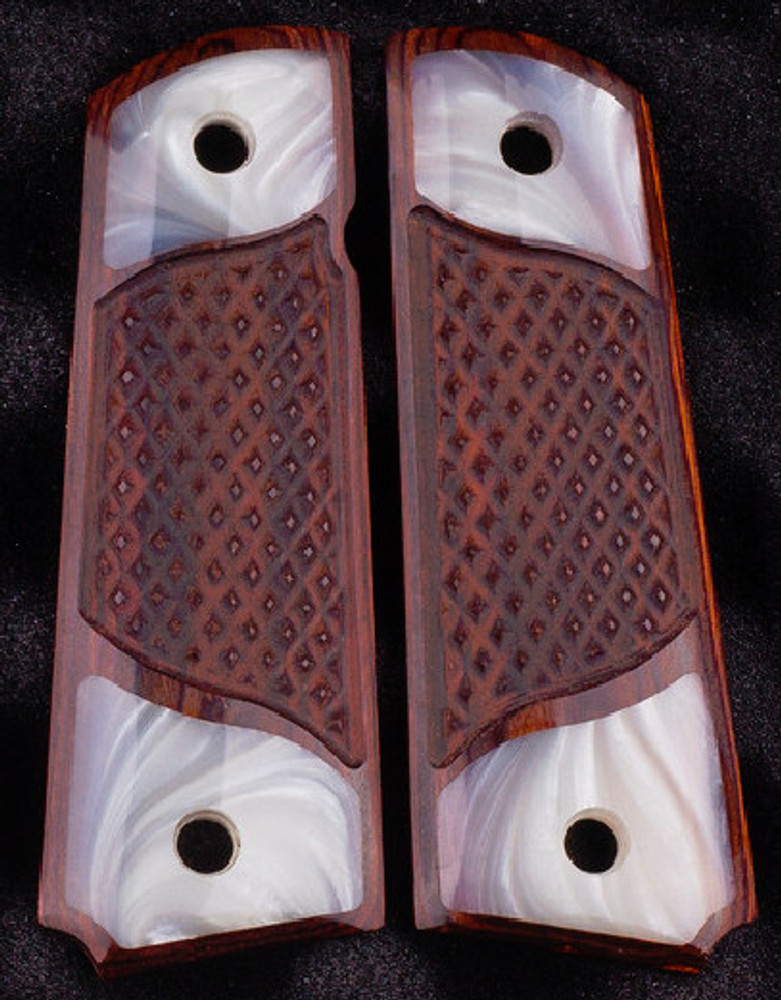 GG1911RPW 1911 Full Size Double Diamond Checkered Rosewood Grips w/Acrylic Pearl Accents