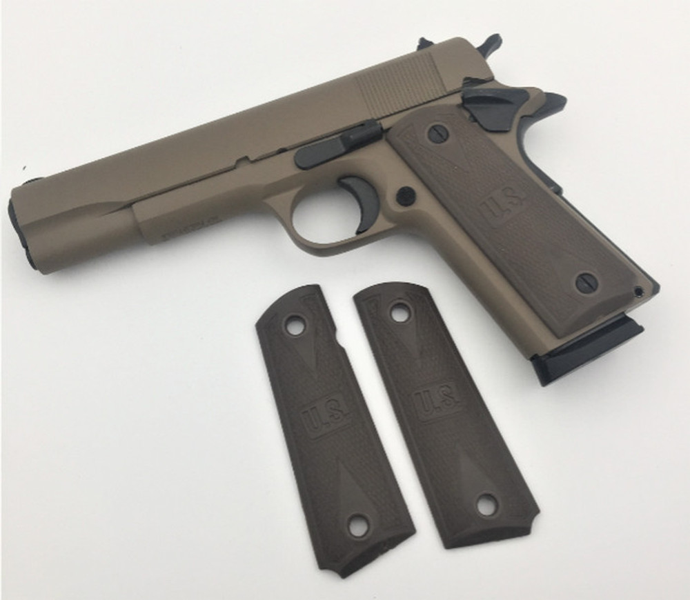 1911 Colt Full Size Dark Earth Rubber Competition Grips w/US Embossed