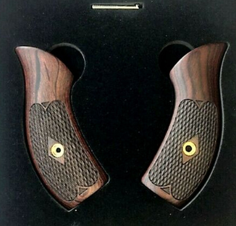 Unique Checkered Rosewood J Frame Grips Round Butt