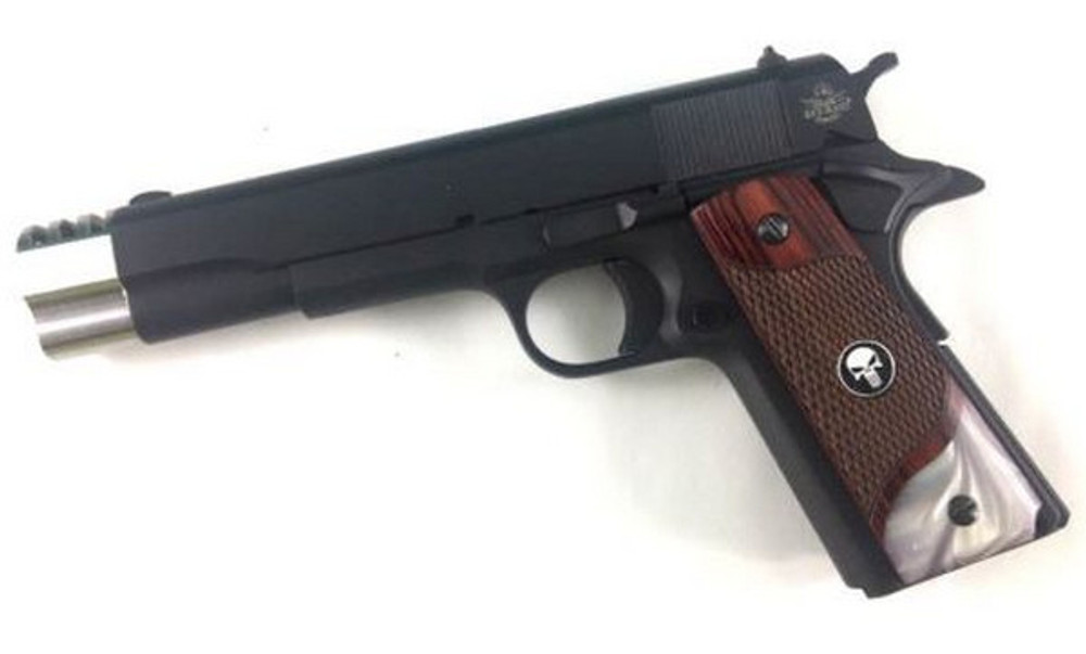 1911 Full Size Checkered Rosewood Grips Pearl Accent w/Black Punisher Medallions