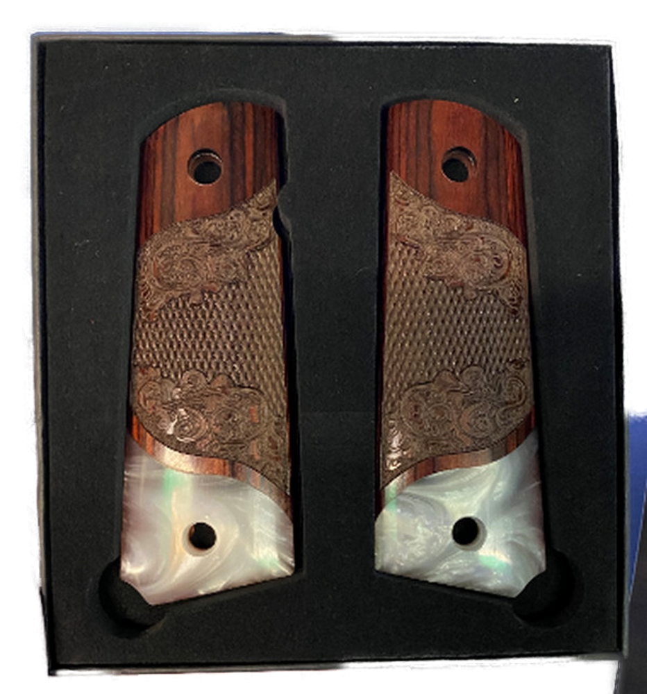 1911 Full Size Carved Rosewood Grips w/Acrylic Pearl  Accent