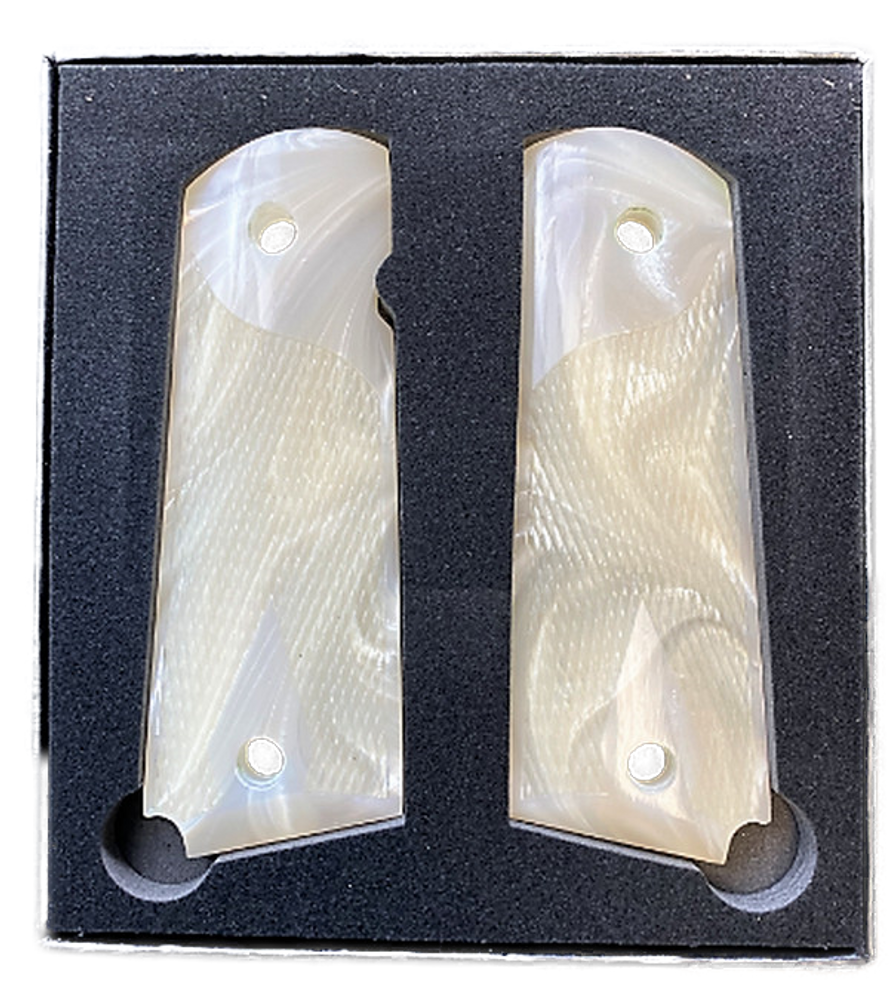 1911 Gun Grips Acrylic Pearl White w/checkered grip for texture