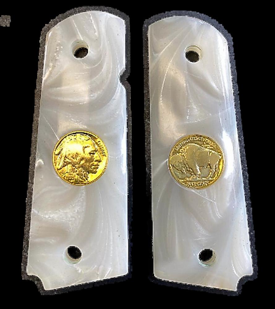 GG1911APW 1911 Gun Grips Acrylic Pearl White w/24k gold plated Buffalo Nickel