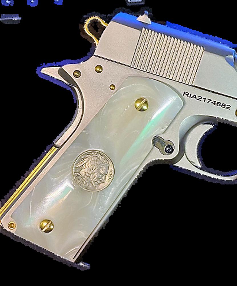 1911 Gun Grips Acrylic Pearl White w/Buffalo Nickel
