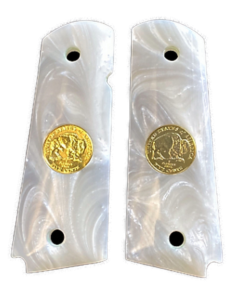1911 Gun Grips Acrylic Pearl White w/24k gold plated Double Buffalo Nickel