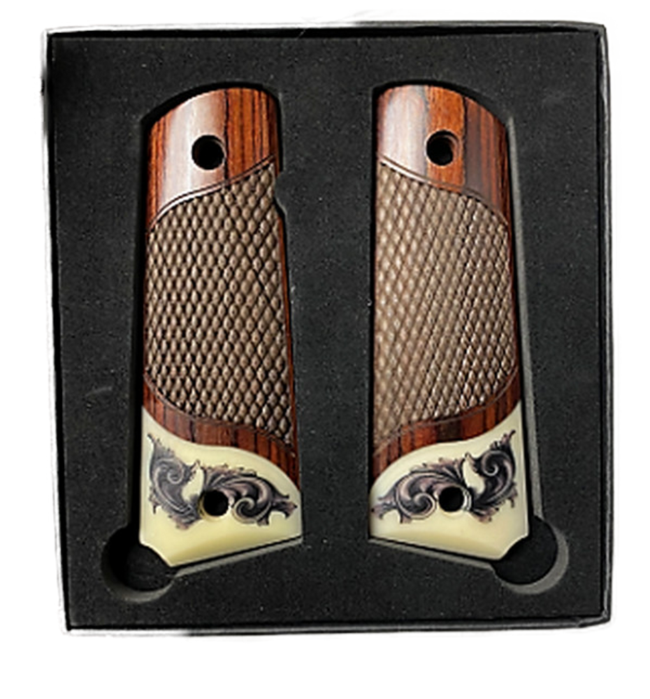 1911 Full Size Rosewood Grips w/Faux Scrimshaw Acrylic Ivory Accent