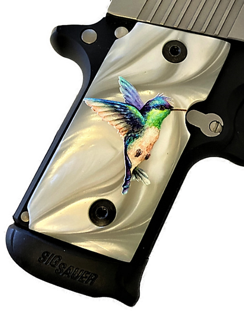 Sig Sauer P238 HD/UV Full color Faux Mother of Pearl stunning Hummingbird