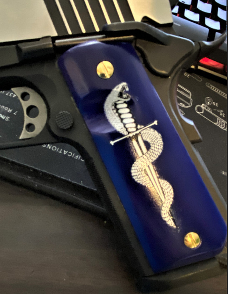 1911 G10 Full size UV printed grips w/ HD Coiled Snake wrapped around dagger image