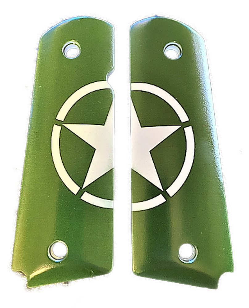 "1911 Gun Grips ""Army Jeep Star"" UV printed from HD photo over acrylic"