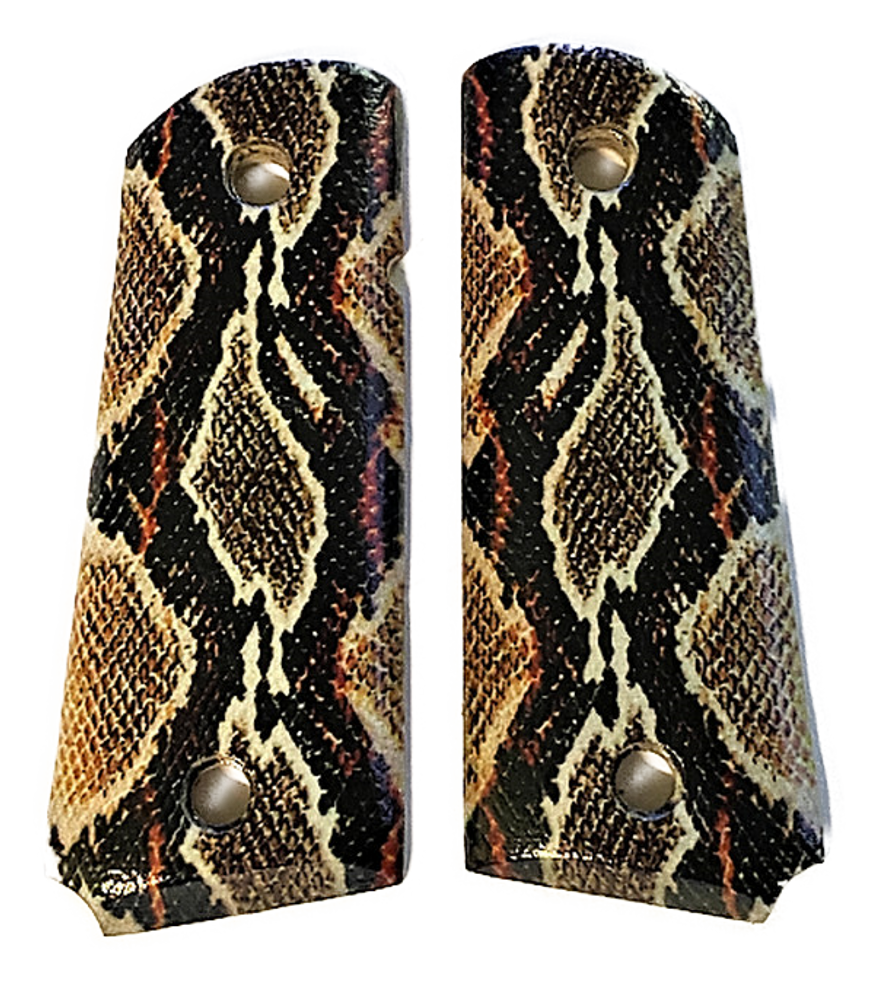 1911 Officer/Compact grips fits COLT Springfield Rock Island Clones UV Printed HD Picture of Rattle Snake Skin over Walnut