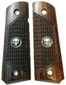 1911 Combat Rosewood Black Punisher Medallions Full Size Grips