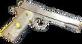 Gun Grips Acrylic Pearl White w/24k gold plated Buffalo Nickel W/Black Ruthnium