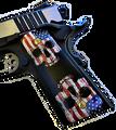 1911 fits Grips Colt Gov & Clones HD picture of Patriotic Skeleton Skulls UV printed on wood grips