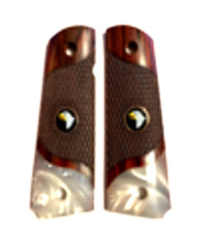 1911 Full Size Checkered Rosewood Grips Pearl Accent w/Screaming Eagle Medallions