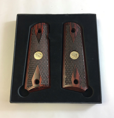 1911 Colt Full Size Double Diamond Checkered Rosewood Grips w/Eagle Medallions