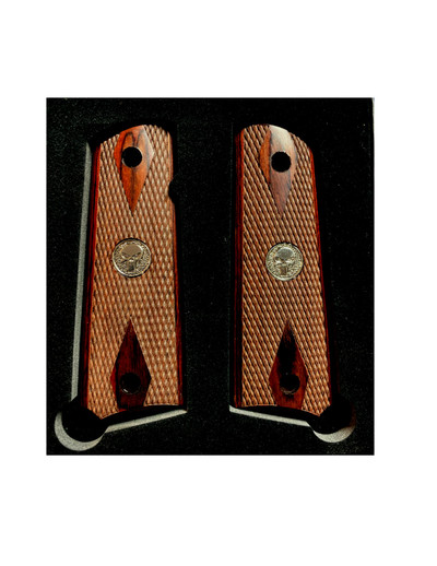1911 Colt Full Size Double Diamond Checkered Rosewood Grips w/Silver Punisher Medallions