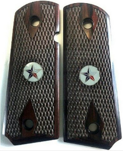 1911 Colt Full Size Double Diamond Checkered Rosewood Grips w/Texas Star Medallions