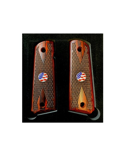 1911 Colt Full Size Double Diamond Checkered Rosewood Grips w/US Flag Medallions