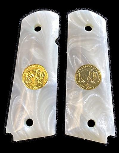 1911 Gun Grips Acrylic Pearl White w/24k gold plated Double Buffalo Nickel