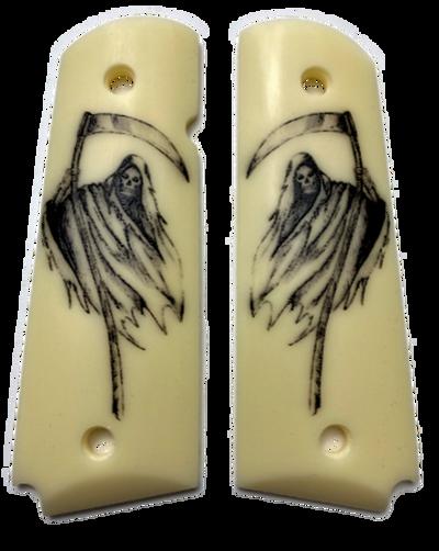 1911  Gun Grips Acrylic Ivory w/UV printed Grim Reaper