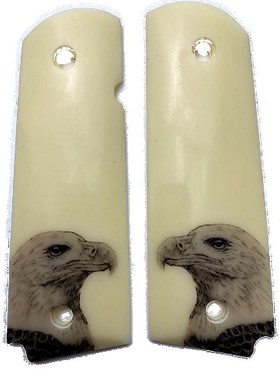 1911  Gun Grips Acrylic Ivory w/UV printed Bald Eagle
