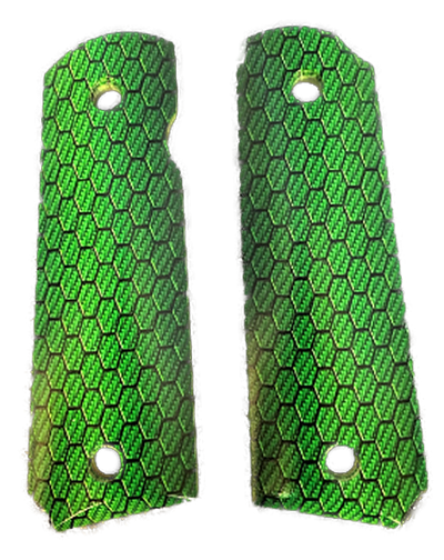 1911 G10 Full size UV Grips w/Emerald Honeycomb imaging