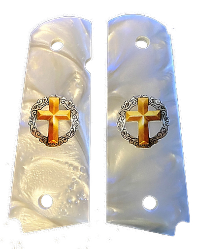 1911 Gun Grips Acrylic Pearl White w/UV Printed Gold Cross
