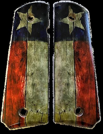 1911 fits Grips Colt Gov & Clones Rustic Texas Flag UV printed on Laminate Diamond Wood