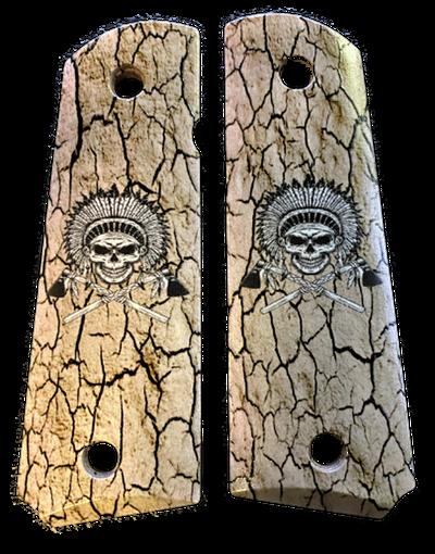 1911 fits Grips Colt Gov & Clones Warrior Chief Skull UV printed on wood