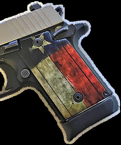 SIG SAUER P938 Acrylic Pearl Gun Grips with UV Printed Rustic Texas Flag