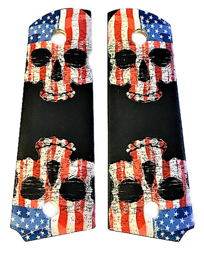 1911 fits Grips Colt Gov & Clones HD picture of Patriotic Skeleton Skulls UV printed on wood grips
