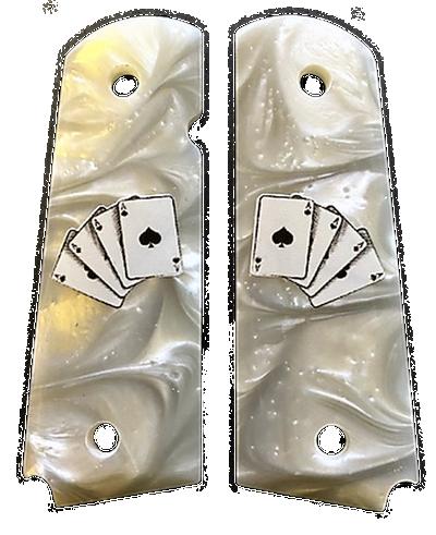 1911 Full Size Gun Grips Acrylic Pearl White w/Aces