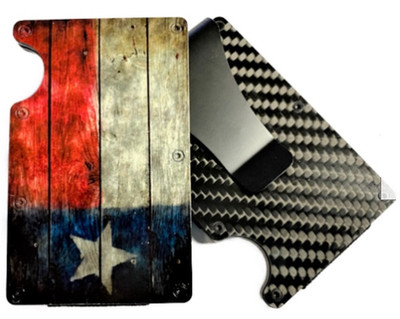 Carbon Fiber Wallet w/HD UV printed picture of a Rustic Texas Flag