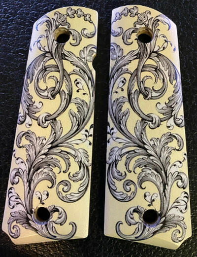 Full Size 1911 Grips Colt Gov & Clones HD Picture of Scrolls UV printed on wood