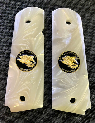 1911 Gun Grips Acrylic Pearl White w/Black and Gold Eagle and 24k Gold Plated Screws