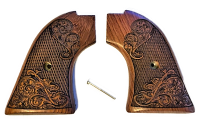 """The Rosewood """"Gold Rush"""" Version Heritage Arms Rough Rider Carved Scroll Rosewood 6 & 9 Shot Grips (.22 &.22 Mag)"""