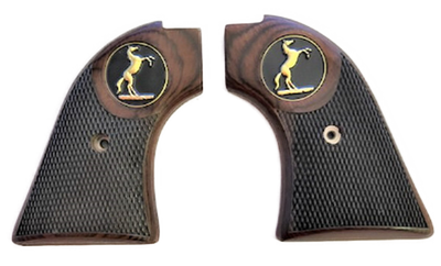 """The Rosewood """"Stud"""" Version Heritage Arms Rough Rider Checkered Rosewood w/ Stud Horse Medallion 6 & 9 Shot Grips (.22 &.22 Mag)"""