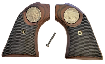 """The Rosewood """"Buffalo"""" Version Heritage Arms Rough Rider Checkered Rosewood w/Buffalo Nickel Medallion 6 & 9 Shot Grips (.22 &.22 Mag)"""