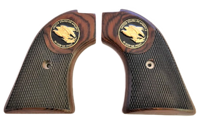 """The Rosewood """"Golden Eagle"""" Version Heritage Arms Rough Rider Checkered Rosewood w/Golden Eagle Medallion 6 & 9 Shot Grips (.22 &.22 Mag)"""