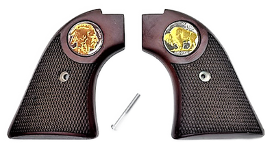 """The Rosewood """"24k Gold Plated Buffalo Nickel"""" Version Heritage Arms Rough Rider Checkered Rosewood  6 & 9 Shot Grips (.22 &.22 Mag)"""