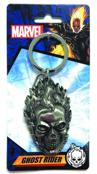 GHOST RIDER HEAD PEWTER KEYRING