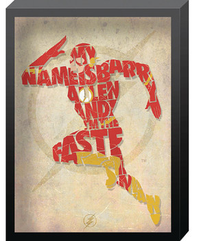 DC COMICS FLASH OUTLINE PRINTED GLASS ART